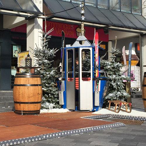 Winter Kerst decoratie skigondel