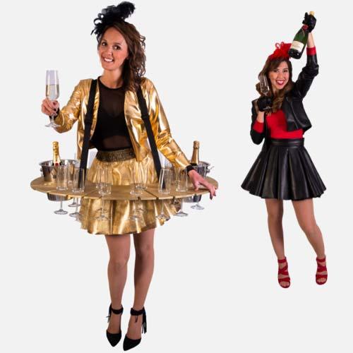 Nieuwjaarsborrel champagne tafeldames